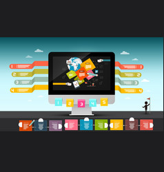 Web design concept computer with infographic vector