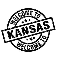 welcome to kansas black stamp vector image