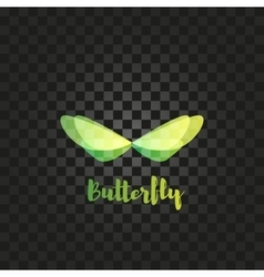 Isolated green butterfly logo insects vector