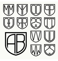 Set 2 of template letters inscribed in the shield vector