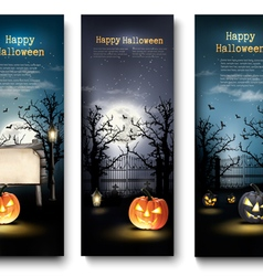 Three Holiday Halloween Banners with Pumpkins vector image