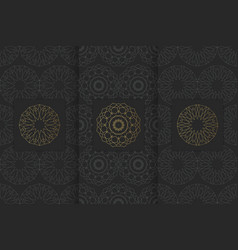 Collection of black backgrounds and golden vector