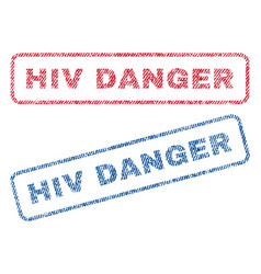 Hiv danger textile stamps vector