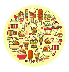 set of ice cream icon isolated on circ vector image