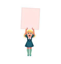 Little girl child kid holding blank empty poster vector