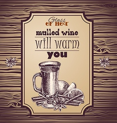 Mulled wine hand drawn vector