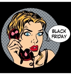 Black friday woman phone communication vector