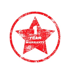 One year warranty red grungy stamp isolated vector
