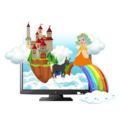 Computer screen with princess and castle vector