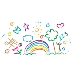 Children drawing multicolored symbols set vector