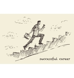 Drawn man climbing stair sky successful vector