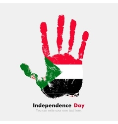 Handprint with the flag of sudan in grunge style vector