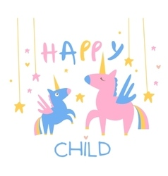 Happy child backdrop with unicorns vector