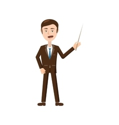 Businessman with pointer icon cartoon style vector