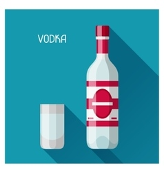 Bottle and glass of vodka in flat design style vector