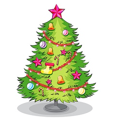 A big christmas tree with many decorations vector