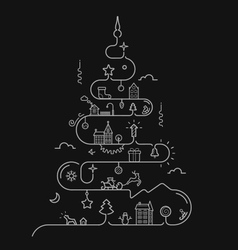 Abstract christmas tree in line style vector