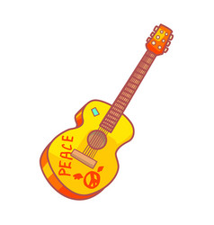 Acoustic guitar with peace lettering colorful vector