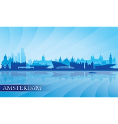 Amsterdam city skyline silhouette background vector