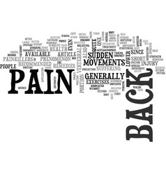 Back pain and its remedies text word cloud concept vector