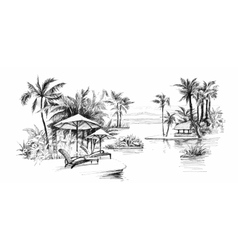 Black and white painting palm alley vector