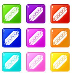 Bun and sausage icons 9 set vector