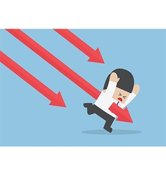 Businessman stabbed by downtrend arrow vector