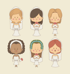 Color background of set bride woman in wedding vector