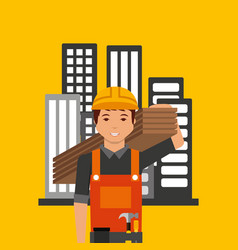 construction professional avatar character vector image vector image
