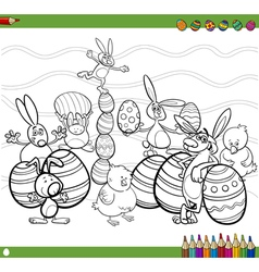 easter characters coloring book vector image vector image