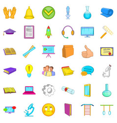 Elearning icons set cartoon style vector