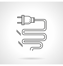 Electrical plug flat line icon vector image vector image