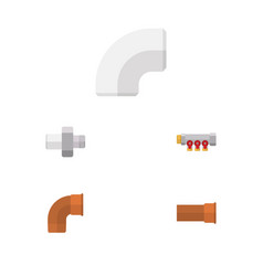 flat icon pipeline set of cast connector vector image vector image