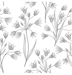 floral seamless pattern flower branch engraved vector image