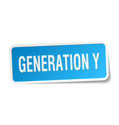 Generation y square sticker on white vector