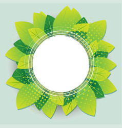 Green leaves nature round circle frame vector