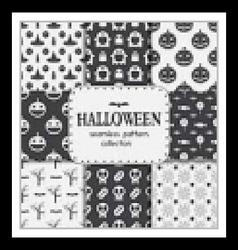 Halloween Seamless Pattern Backgrounds Set vector image vector image