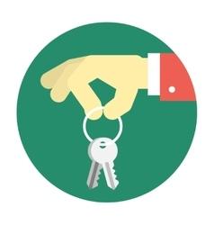 Hand holding keys vector