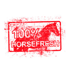 Horsefresh - red rubber grungy stamp in vector