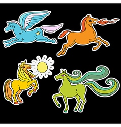 Horses stickers vector