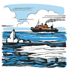 Iceberg sketch cartoon landscape vector
