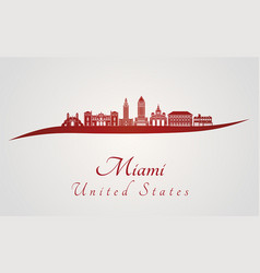 Miami v2 skyline in red vector