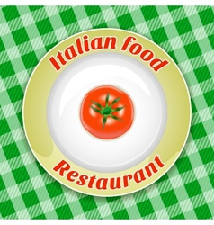 Plate with title and tomato vector image vector image