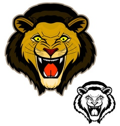Roaring lion head mascot vector