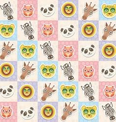 Set of funny animals muzzle owl panda giraffe lion vector image vector image