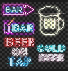 set of glowing bar neon signs vector image