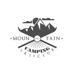 Ski camping emblem design vector