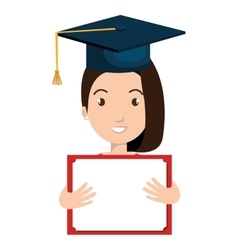 Student graduate avatar with diploma icon vector