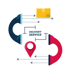 Telephone call to delivery package service vector