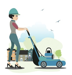 Women use the mower vector